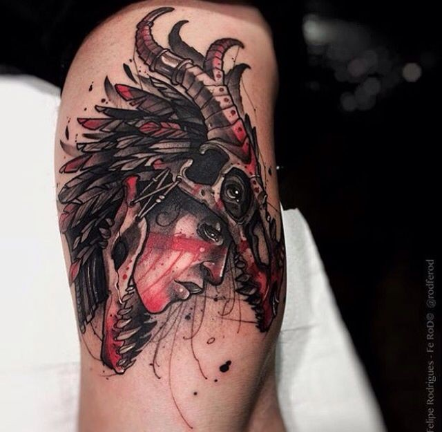 Modern style colored tattoo of woman with dinosaur skull