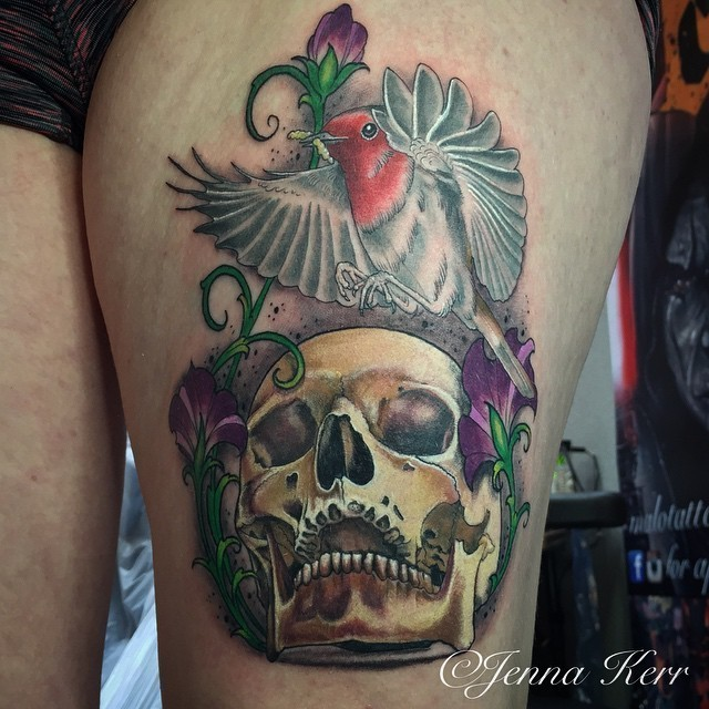 Modern style colorful painted by Jenna Kerr thigh tattoo of bug skull with hummingbird and flowers