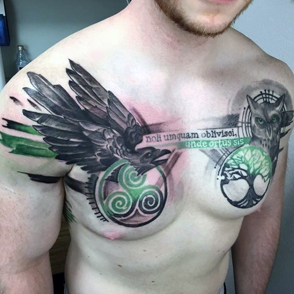 Modern traditional style colored chest tattoo of Celtic symbols with lettering and animals