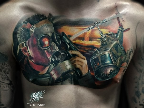 Modern traditional style colored chest tattoo of military helicopter with gas mask