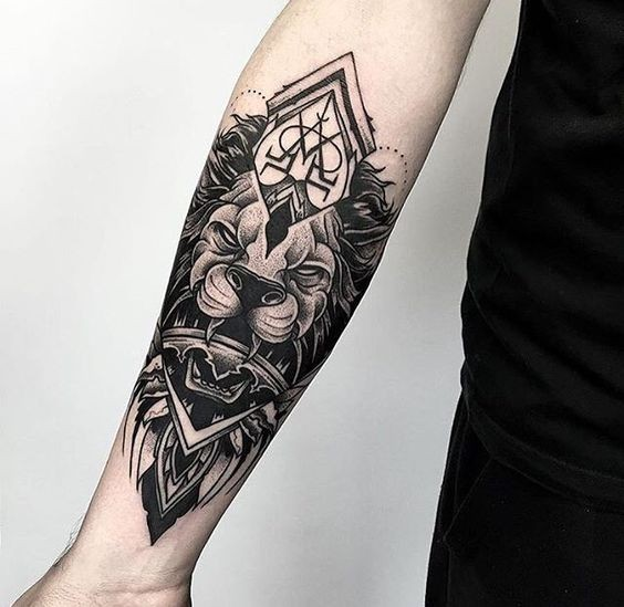 Mystical dot style forearm tattoo of demonic lion statue with mystic ornaments