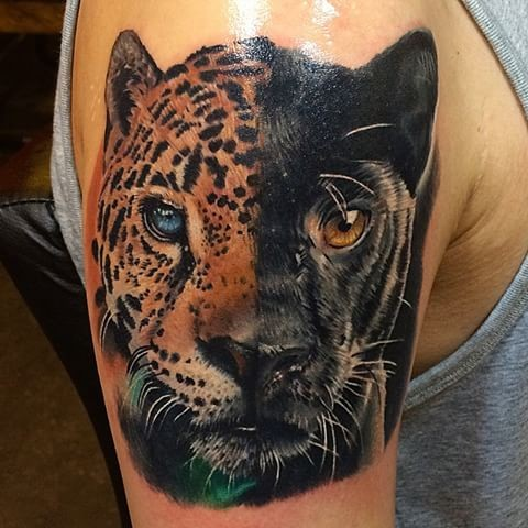 Natural looking illustrative style shoulder tattoo of half black panther with leopard