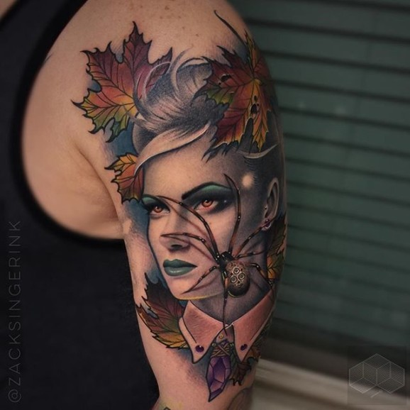 Neo traditional multicolored shoulder tattoo of woman with spider and leaves