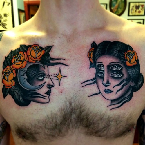 Neo traditional style colored chest tattoo of mystical woman faces with flowers and moon
