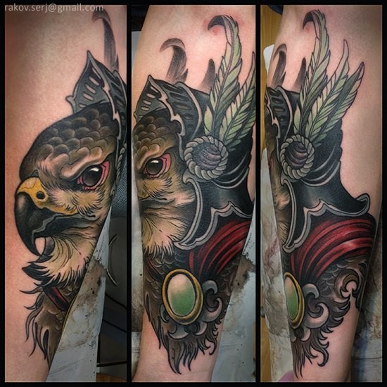 Neo traditional style colored eagle with helmet tattoo