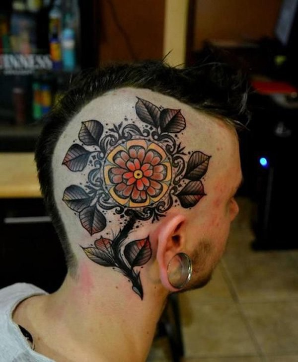 Neo traditional style colored head tattoo of beautiful flower with leaves