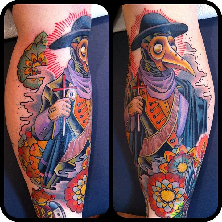 Neo traditional style colored plague doctor with flowers tattoo on leg