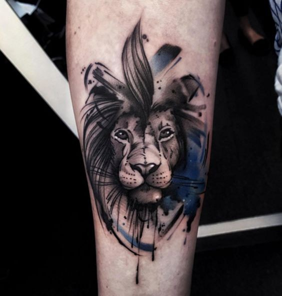 New school art style colored tattoo of small lion head