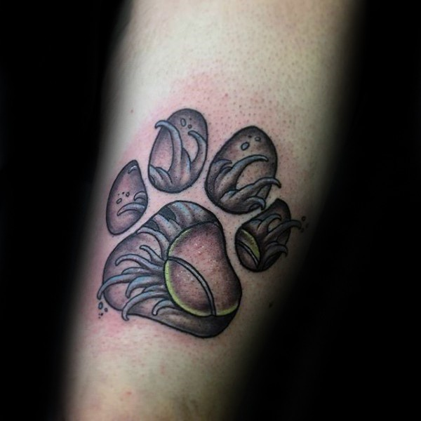 New school style colored animal paw print stylized with flower