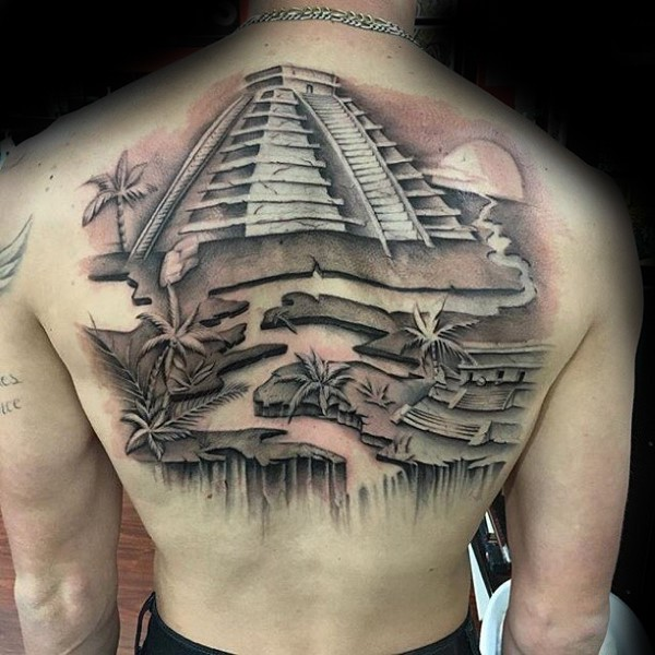 New school style colored back tattoo of large Mayan pyramid with river and palm trees