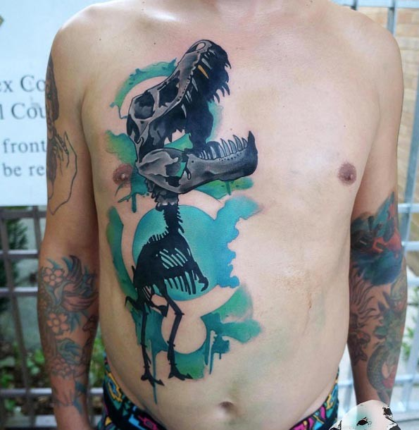 New school style colored chest and belly tattoo of big dinosaur skeleton