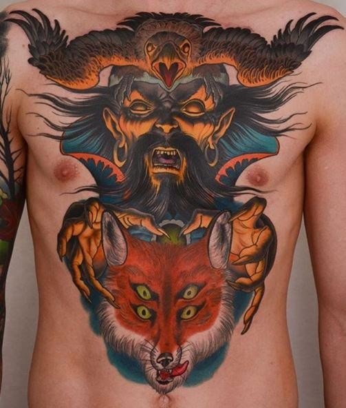 New school style colored chest and belly tattoo of terrifying evil demon with creepy fox