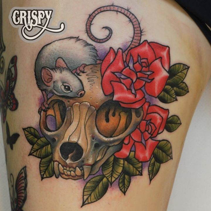New school style colored cute looking animal skull tattoo on thigh with little mouse and roses