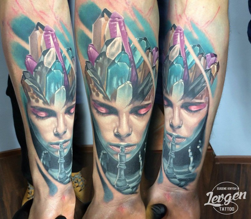 New school style colored leg tattoo of woman with diamond