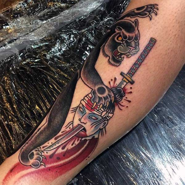 New school style colored leg tattoo of black panther with samurai head and sword