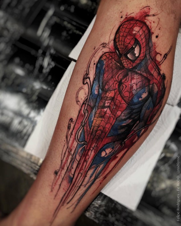 New school style colored leg tattoo of very detailed Spider man