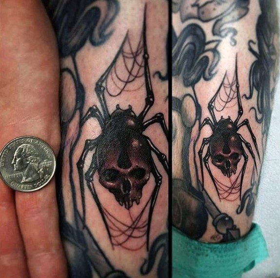 New school style colored leg tattoo of human skull with spider legs