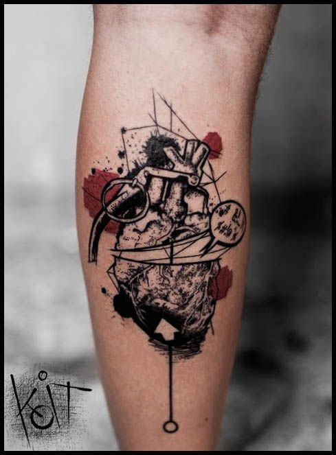 New school style colored leg tattoo of grenade made from human heart