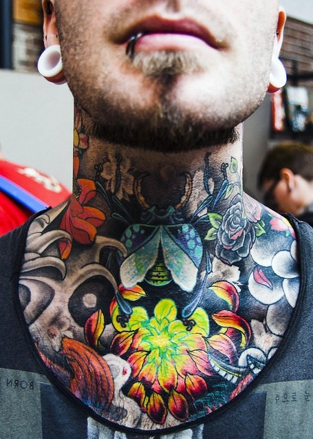 New school style colored neck tattoo of Egypt bug