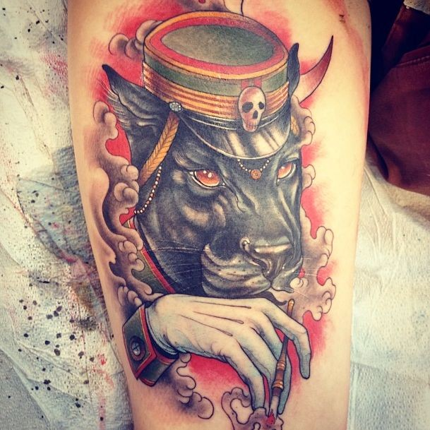 New school style colored tattoo of mystical black panther with hat