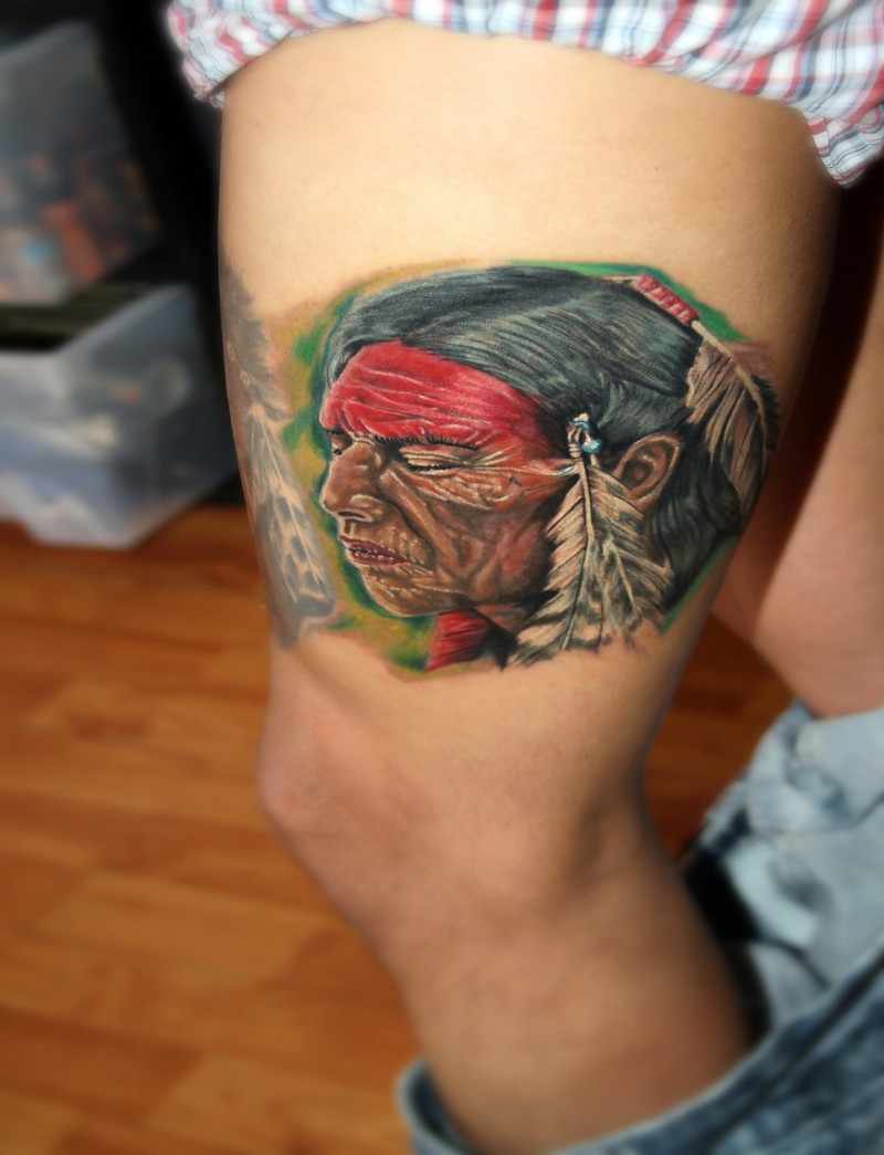 Indian with eagle and wolf tattoo on shoulder tattooimages biz - New School Style Colored Thigh Tattoo Of Old Indian