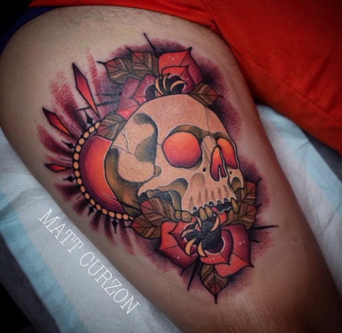 New school style colored thigh tattoo of big skull with sun and flowers
