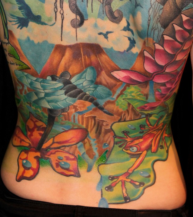 New school style colored whole back tattoo of jungle with flowers and frog