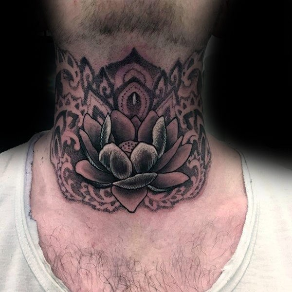 New school style detailed Lotus flower tattoo on throat