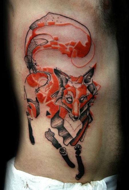 New style red fox tattoo on ribs for men