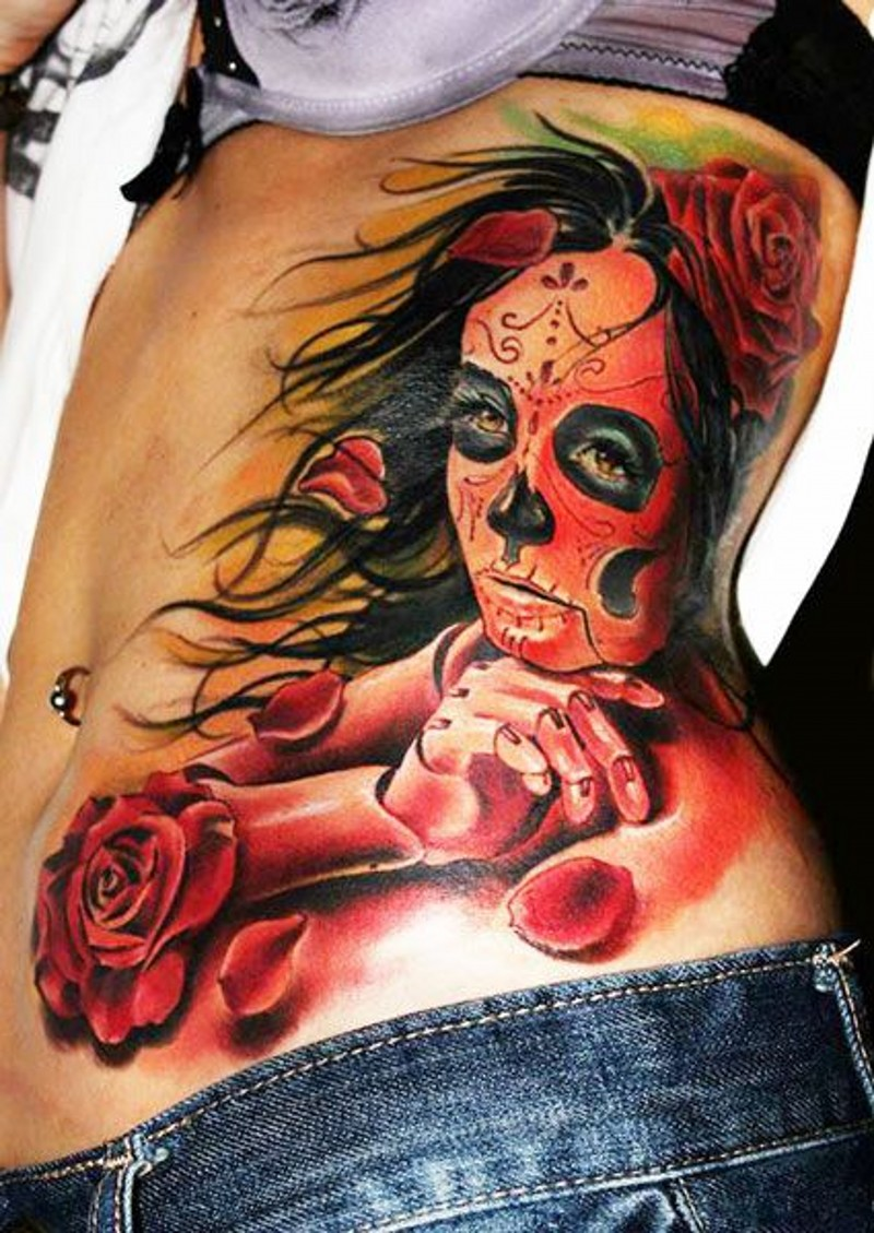 New style vivid colors santa muerte girl and red roses tattoo on ribs