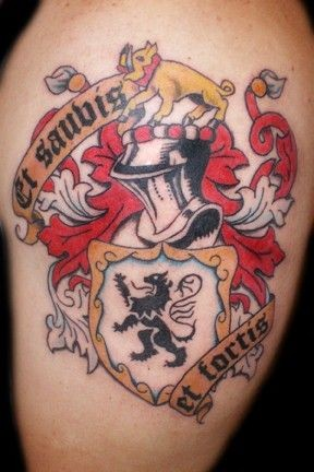 Nice family crest with knight and a boar and a lion tattoo