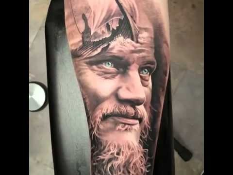 Nice very detailed black and white ol viking portrait tattoo on forearm stylized with sailing ship