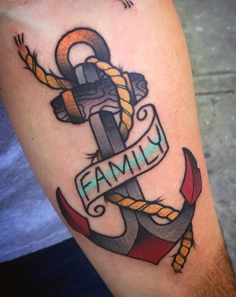 Old school colored roped anchor arm tattoo with lettering family on banner