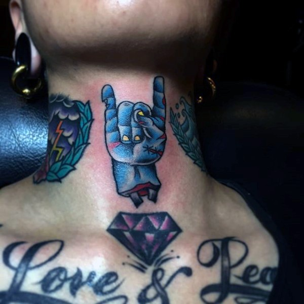 Old school colored zombie hand tattoo on neck with violet diamond