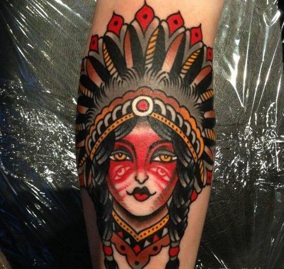 Old school native american girl tattoo by Luke Jinks