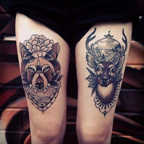 Old school portraits of deer and wolf tattoo on hip