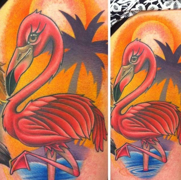 OLd school style colored big flamingo tattoo with palm tree