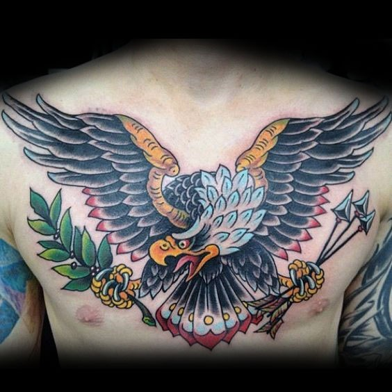 Old school style colored chest tattoo of eagle with arrows and olive branch