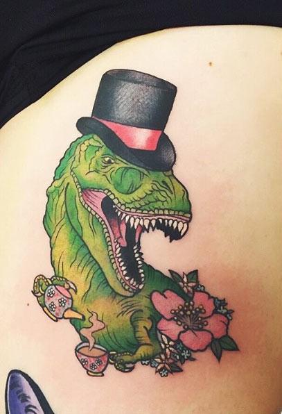 Old school style colored gentleman style dinosaur tattoo