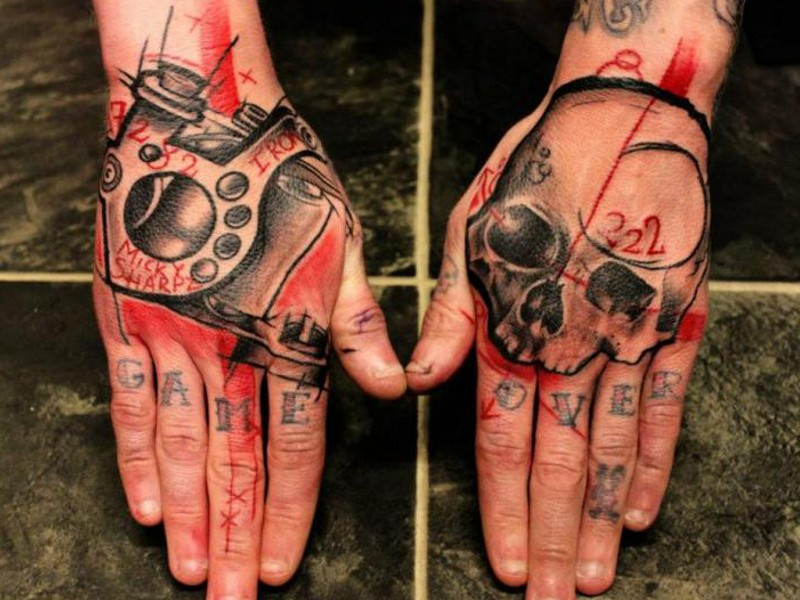 Old school style colored hand tattoo of human skull with symbols