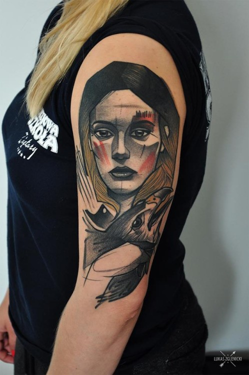 Old school style colored shoulder tattoo of woman face with eagle