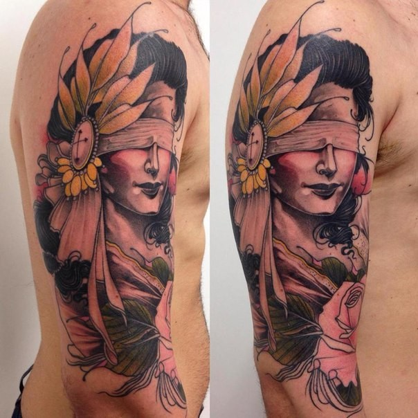 Old school style colored shoulder tattoo of woman with eye ribbon