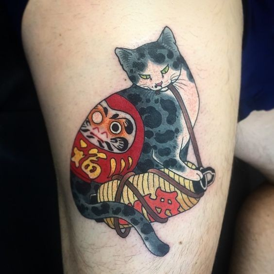 Old school style colored thigh tattoo of Manmon cat by horitomo