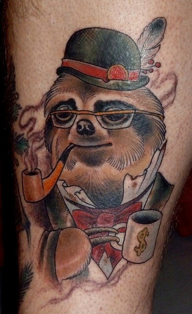 Old style colored gentleman like smoking sloth tattoo on leg