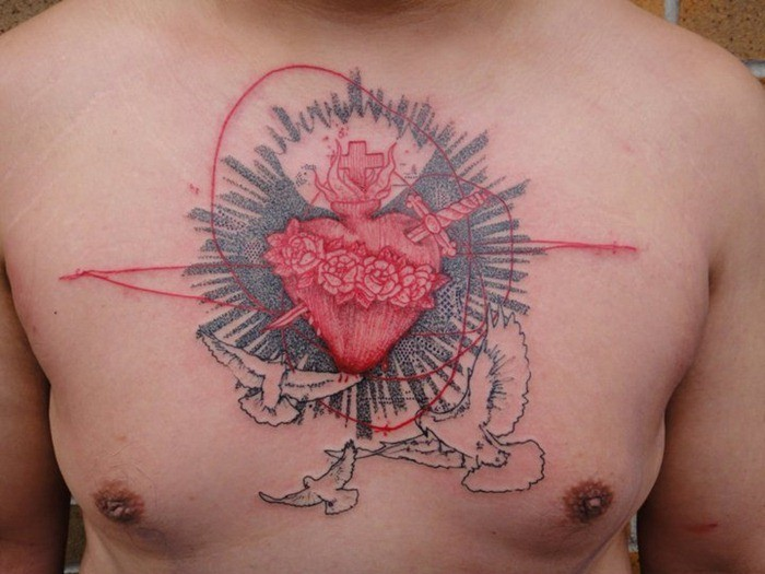 Original designed and colored chest tattoo fo mysterious human heart