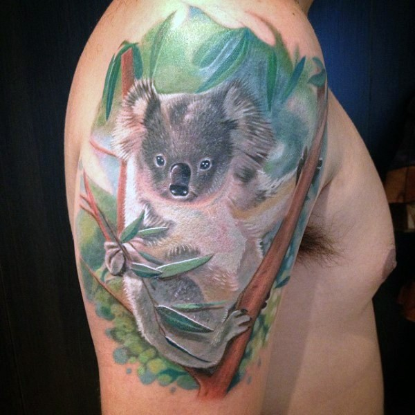 Original very detailed shoulder tattoo of cute koala on tree