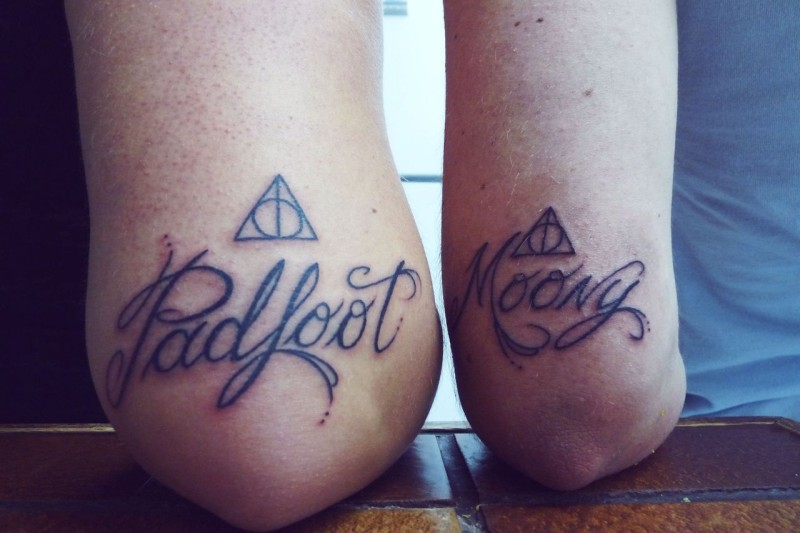 Padfoot and moony friendship quote tattoos on hands