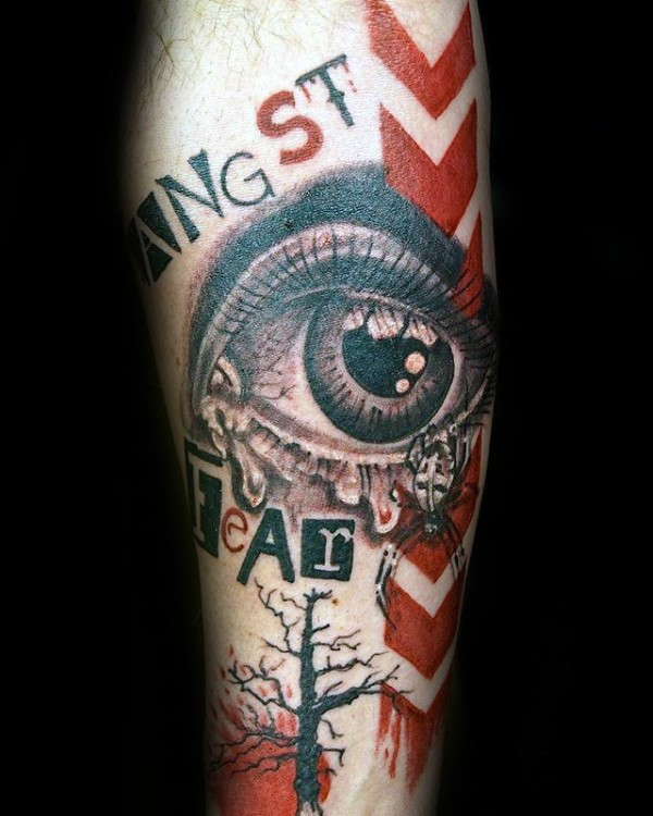 Photoshop style colored arm tattoo of human eye with lettering and spider