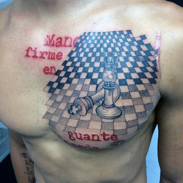 Photoshop style colored chest tattoo of chess figures and lettering