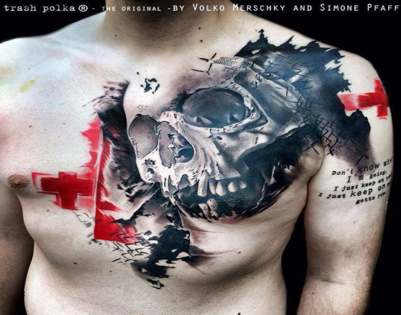 Photoshop style colored chest tattoo of human skull with red cross and lettering